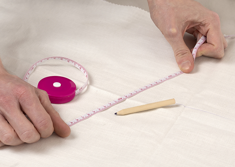 prepping and measuring fabric
