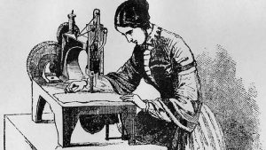 history of sewing machine woman sewing