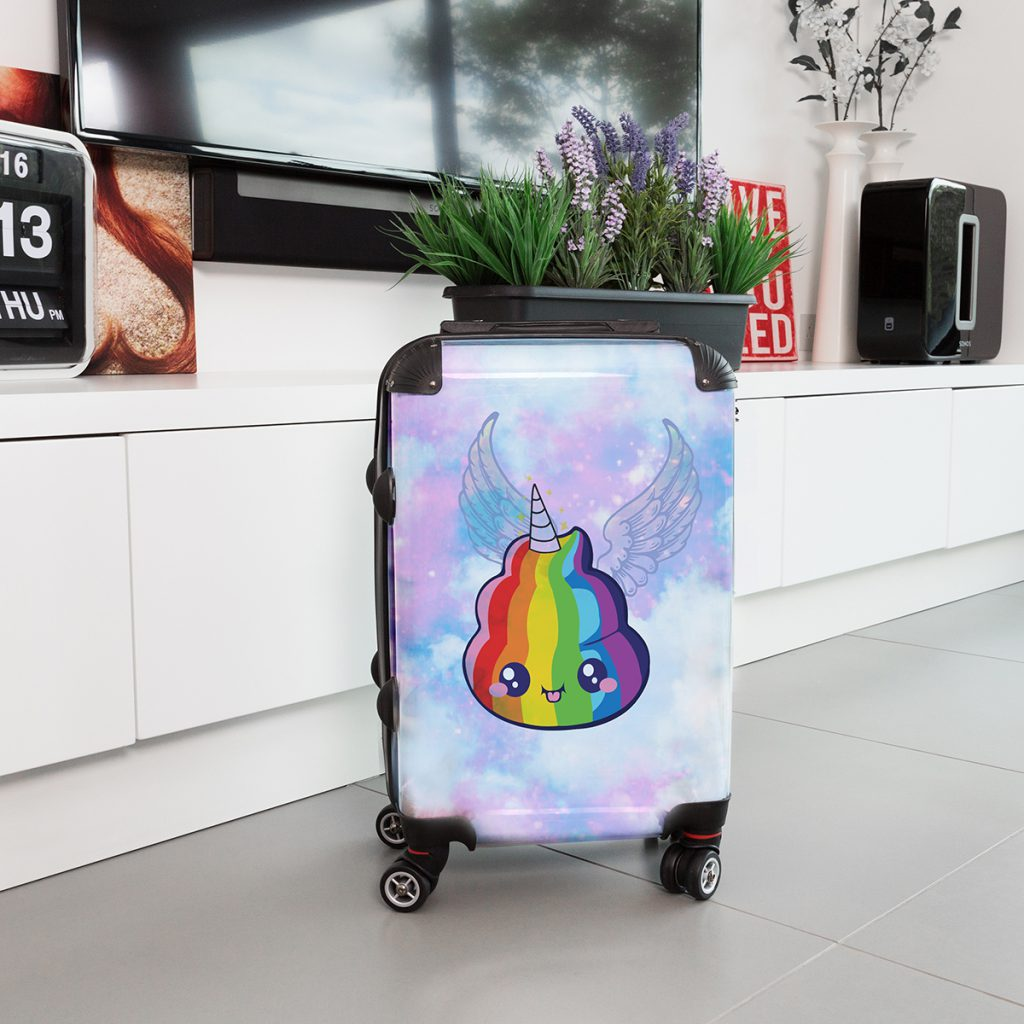 unicorn poop emoji suitcase